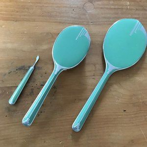 Vintage Art Deco 3 Piece Mint Green Vanity Set